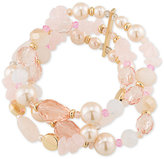 Carolee Gold-Tone Imitation Pearl and Rose Quartz Multi-Row Stretch Bracelet