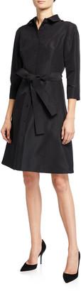 Carolina Herrera Taffeta 3/4-Sleeve Shirtdress