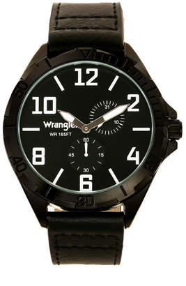 Wrangler Men Watch, 48MM Ip Black Case with Black Sunray Dial, White Applied Arabic Markers, Rugged Texture Black Strap with Black Stitching, Multi-Function Watch