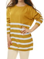 Allegra K Women Round Neck Stripes Boyfriend Loose Tunic Knit Top