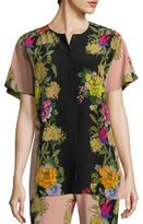 Etro Butterfly Floral Silk Button-Down Blouse