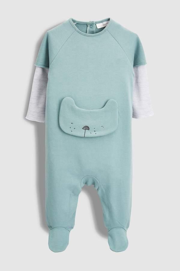 Next Boys Green Crew Bear Sleepsuit (0mths-2yrs)