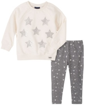 Calvin Klein Toddler Girls Two-Piece Stars Fleece Tunic with Star Print Legging Set