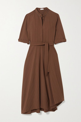 Brunello Cucinelli Belted Bead-embellished Pinstriped Woven Midi Shirt Dress - Brown