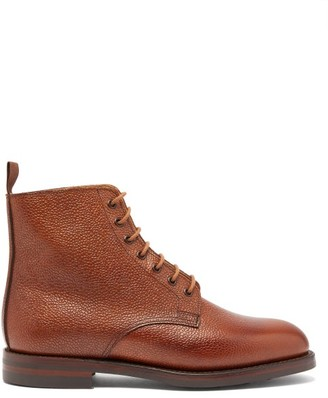 Crockett Jones Crockett & Jones - Barnwell Pebbled-leather Derby Boots - Tan