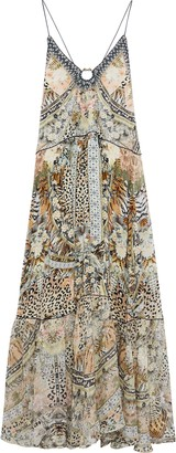 Camilla Moto Maiko Fil Coupe Georgette-paneled Embellished Silk Crepe De Chine Maxi Dress