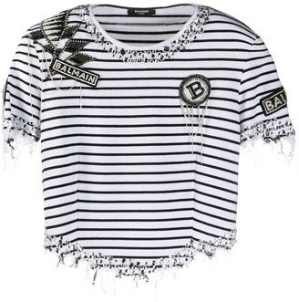 Balmain embellished striped T-shirt