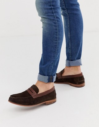Silver Street suede saddle loafer in brown