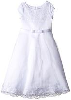 Us Angels Satin & Embroidered Netting Cap Sleeve A-Line Dress (Little Kids/Big Kids)