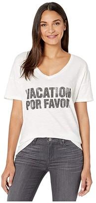 Original Retro Brand The Vacation Por Favor V-Neck Slub Short Sleeve Tee (White) Women's Clothing