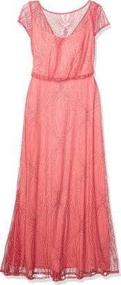 Brianna Women's Blouson Short Sleeve Beaded Long Dress