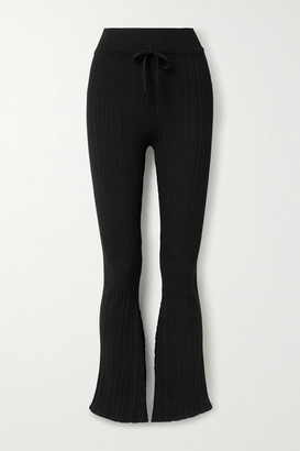 Live The Process Asymmetric Ribbed-knit Flared Pants - Black