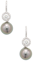 18K White Gold, Tahitian Pearl & 1.19 Total Ct. Diamond Drop Earrings