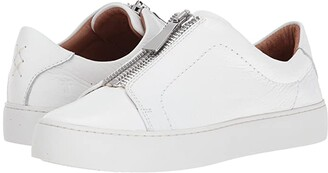 Frye Lena Zip Low (White Tumbled Cow) Women's Lace up casual Shoes