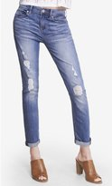 Express Medium Wash Distressed Mid Rise Jean Legging