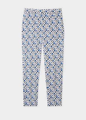 Paul Smith Women's Classic-Fit White 'Ditsy Beetle' Print Stretch-Cotton Pants