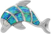Sabrina Silver Sterling Silver Dolphin Pendant Synthetic Opal Inlay & CZ stones, 1 inch wide