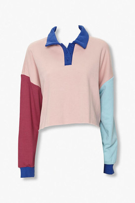 Forever 21 Colorblock Long-Sleeve Polo Shirt