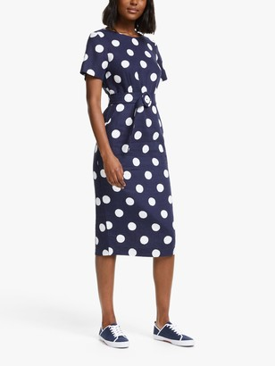 Boden Hazel Belted Polka Dot Midi Dress, Navy/Brand Spot