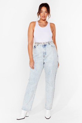 Nasty Gal Womens Acid Wash Our Back Plus High-Waisted Jeans - Light Blue