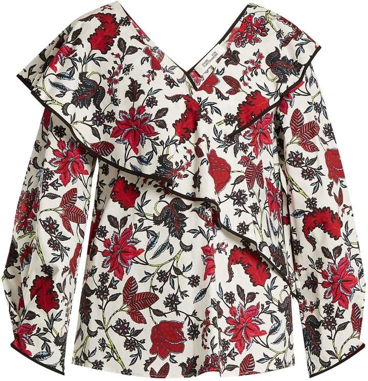 Diane von Furstenberg Canton-print stretch-cotton wrap top