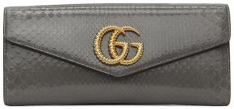 Gucci Grey Snakeskin GG Broadway Clutch