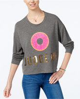 Hybrid Juniors' Donut Sequin Cropped Graphic Sweatshirt