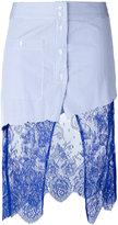 Filles a papa 'Scully' lace panel asymmetric striped skirt - women - Cotton/Polyamide - 0