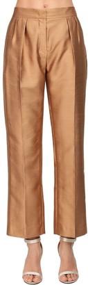 Max Mara Silk Blend Shantung Pants W/ Pleats