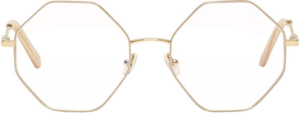 Chloé Gold and Beige Hexagon Glasses