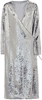 Ganni Sequins wrap midi dress