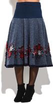 Everest Blue Floral Wool-Blend A-Line Skirt