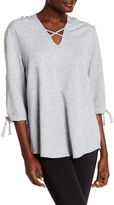 Nanette Lepore Hi-Lo Tie Sleeve Hooded Shirt