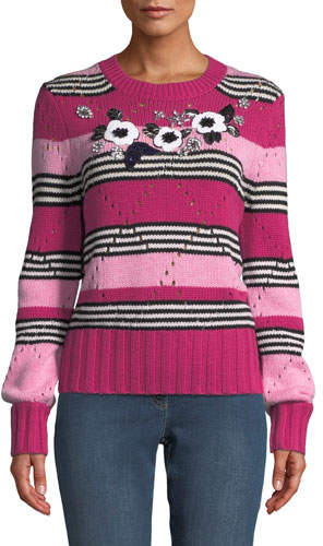 Escada Floral-Beaded Crewneck Striped Wool-Cashmere Pullover Sweater