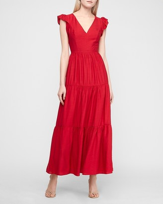 Express Flutter Sleeve Tiered Maxi Dress