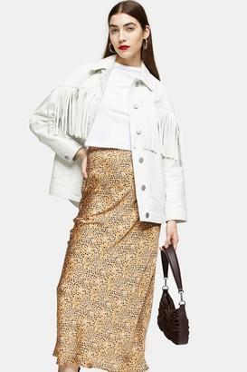 Topshop Womens Animal Bias Maxi Skirt - Natural