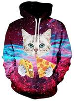 Uideazone Men 3d Galaxy Pizza Cat Pullover Hoodie Sweatshirt Cool Outwear Coat