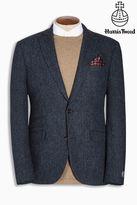 Next Blue Harris Tweed Blue Herringbone Tailored Fit Wool Jacket