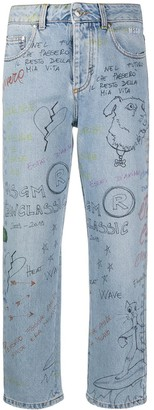 MSGM Doodle Print Straight-Leg Jeans