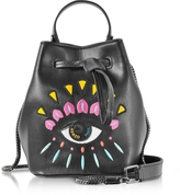 Kenzo Black Leather Mini Eye Bucket Bag