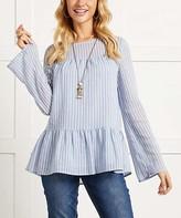 Suzanne Betro Women's Tunics 101BLUE/WHITE - Blue & White Stripe Ruffle Peplum Tunic - Women & Plus