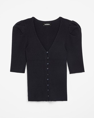 Express Ribbed Puff Sleeve Stretch Cardigan