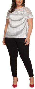 Black Tape Plus Size Striped Lace-Yoke Top