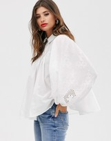 Asos Design DESIGN long sleeve cotton smock shirt with embroidery detail
