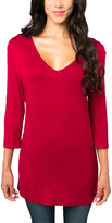 Red Essential V-Neck Tunic