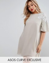 Asos Swing Dress With Silk Embroidery And Embellishment