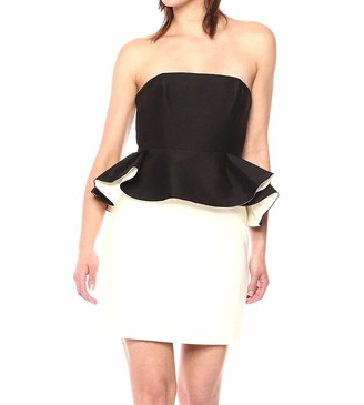 Halston Women's Strapless Color Blocked Dress with Peplum