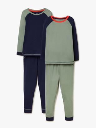 John Lewis & Partners Boys' Colour Block Pyjamas, Pack of 2, Green/Navy