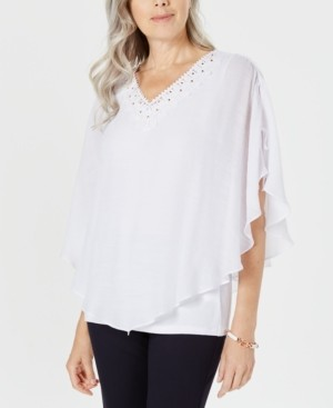 JM Collection Plus Size Crochet-Neck Crosshatch Blouse, Created For Macy's