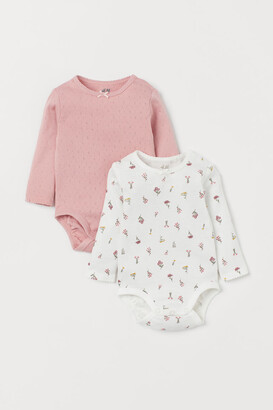 H&M 2-pack Long-sleeved Bodysuits - Pink